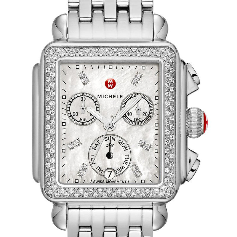 Michele Signature Deco Mother of Pearl Diamond Markers and Bezel Watch