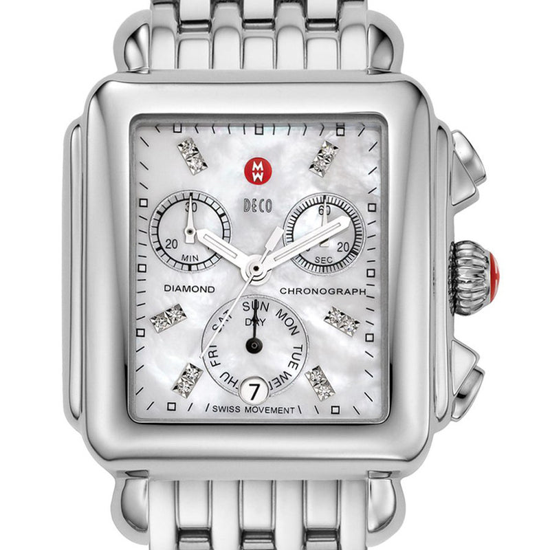 Michele Signature Deco Diamond Markers Mother of Pearl Watch