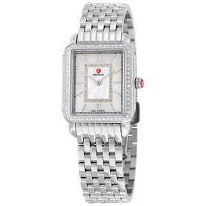 Michele Deco II Mid-size Mother of Pearl Diamond Dial and Bezel Watch