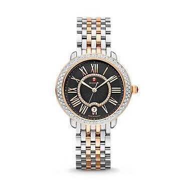 Michele Sereni 16 Black Textured Dial Diamond Bezel Rose Gold-Tone and Steel Watch