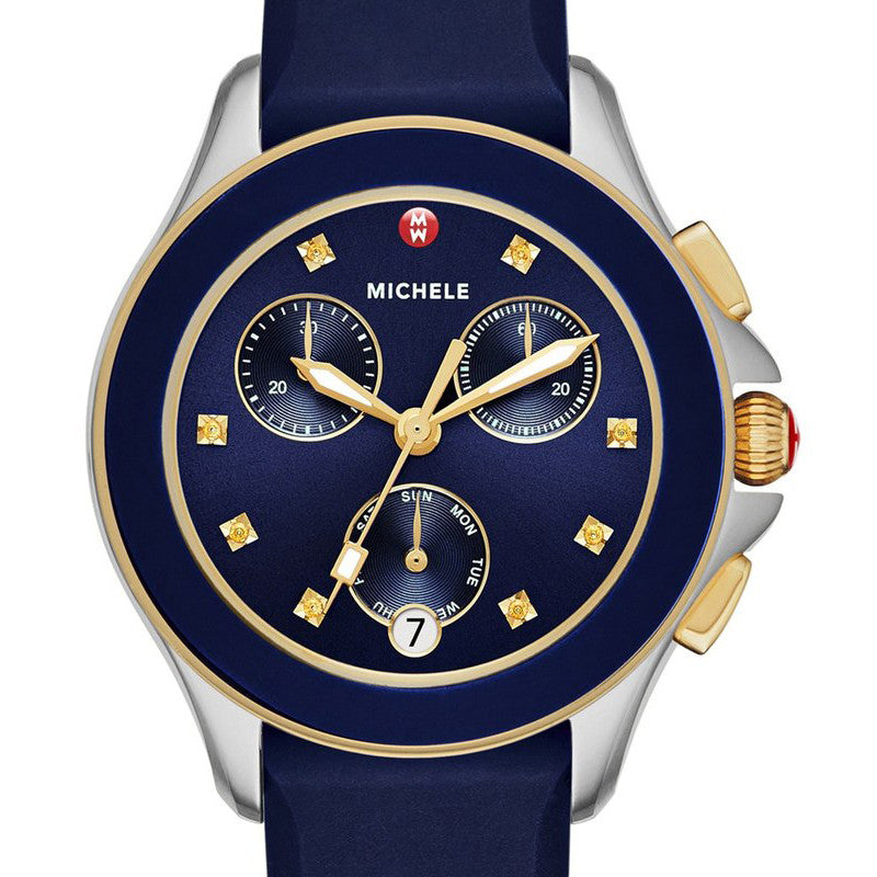 Michele Cape Chronograph Navy Blue Sunray Dial Two-Tone Watch
