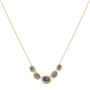 Dana Kellin Oval Kyanite Yellow Gold Spun Wire Pendant Necklace