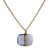 Dana Kellin Fine Tanzanite Rectangle Yellow Gold Spun Wire Pendant Necklace
