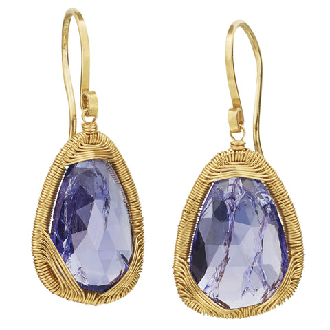Dana Kellin Pear Shape Tanzanite Yellow Gold Spun Wire Dangle Earrings