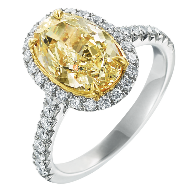 Fancy Yellow Oval 2.41 Carat Diamond Halo Platinum & 18K Engagement Ring