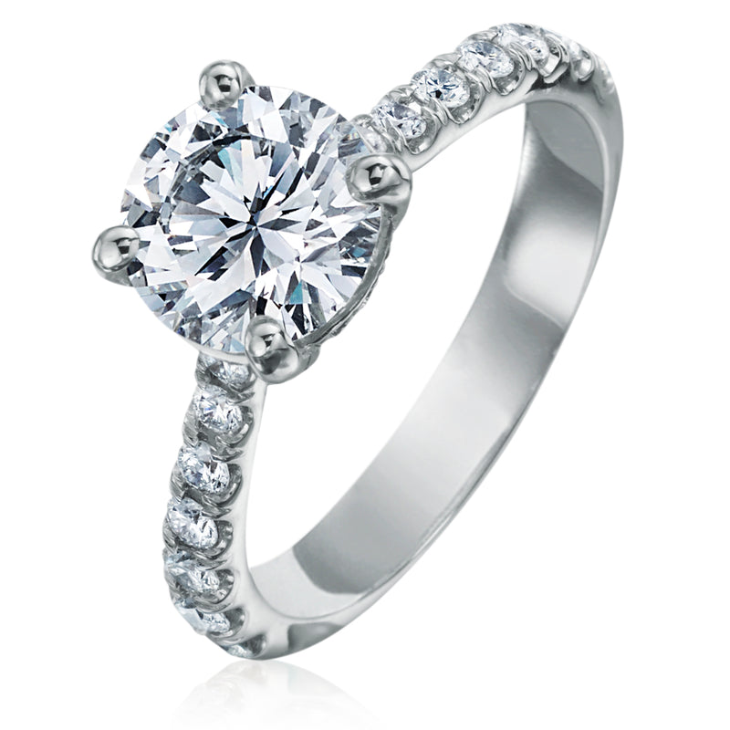 Round Brilliant 2 Carat Diamond Shank Platinum Engagement Ring