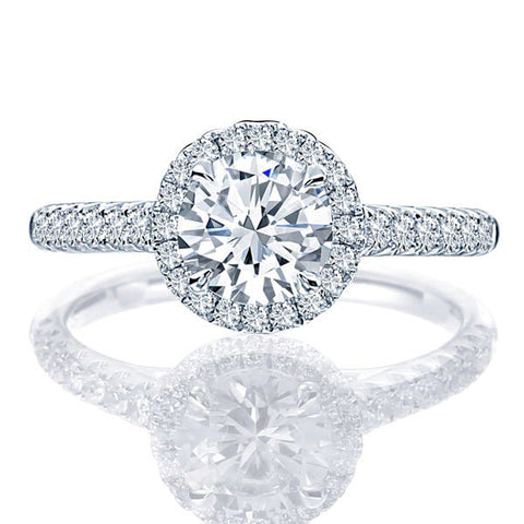 Point of Love Round Diamond Platinum 1.90 Carat Halo Engagement Ring