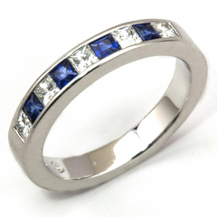 Princess Cut Sapphire & Diamond Channel Set White Gold Wedding Band Ring 18K