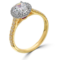 Point of Love Round 1 Carat Diamond Halo Engagement Ring Yellow Gold with Ruby