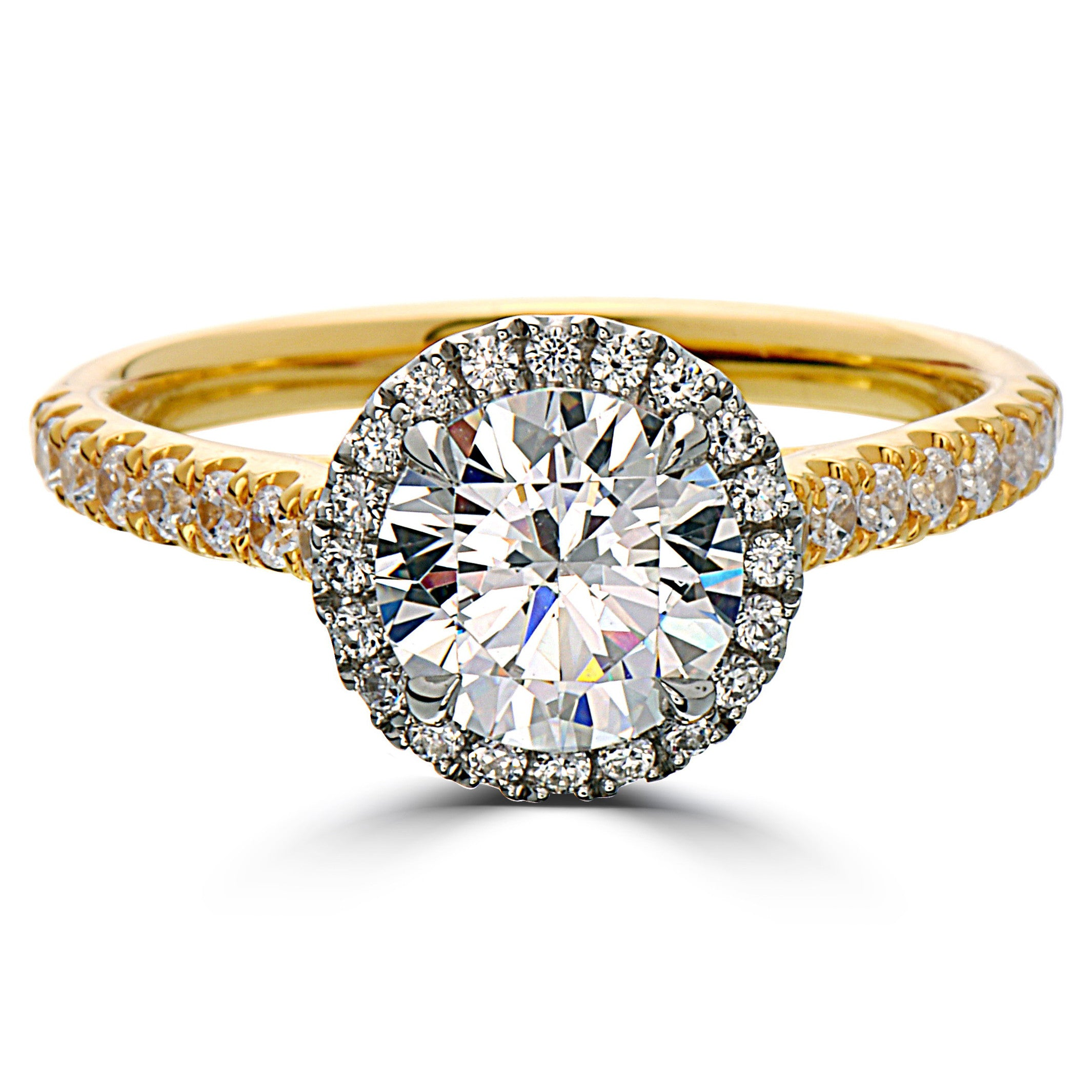 Point of Love Round 1 Carat Diamond Halo Engagement Ring Yellow