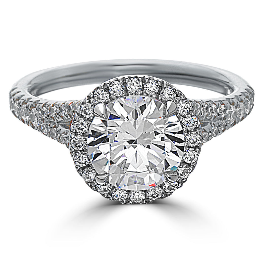 Point of Love Round Brilliant 2 Carat Diamond Halo Platinum Engagement Ring Split Shank