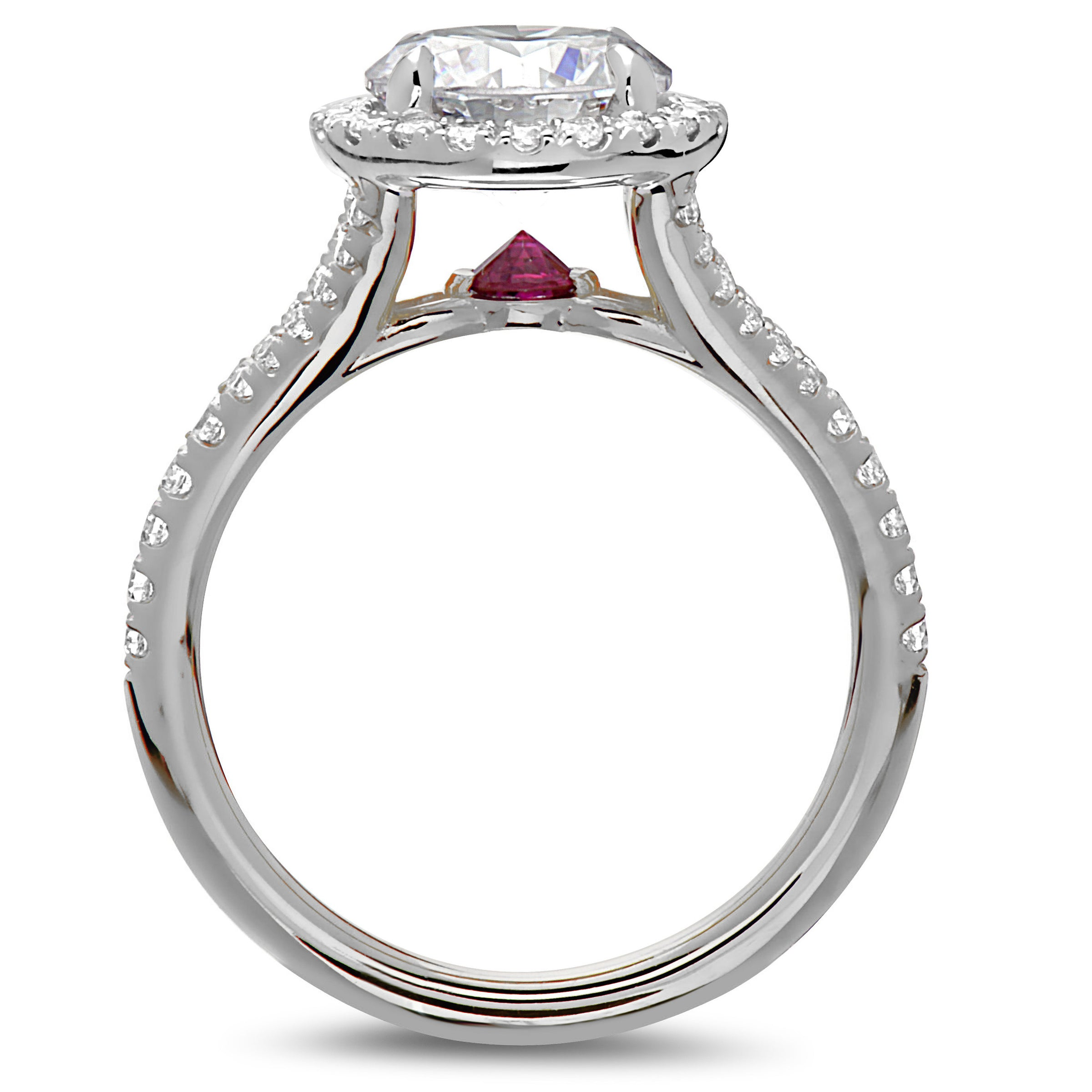 3ddffbe303b Point of Love Round Brilliant 2 Carat Diamond Halo Platinum Engagement Ring  with Ruby Split Shank