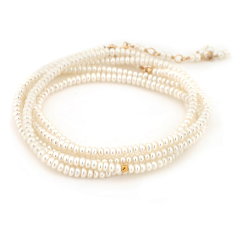 "Anne Sportun White Pearl Beaded Wrap Bracelet & Necklace 34"" B098G-PRL"