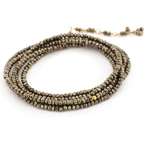 "Anne Sportun Pyrite Beaded Wrap Bracelet & Necklace 34"" B098G-PYR"