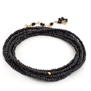 "Anne Sportun Black Spinel Beaded Wrap Bracelet & Necklace 34"" B098G-SPIN"