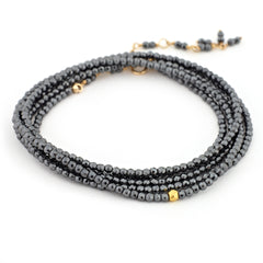 "Anne Sportun Hematite Beaded Wrap Bracelet & Necklace 34"" B098G-HEM"
