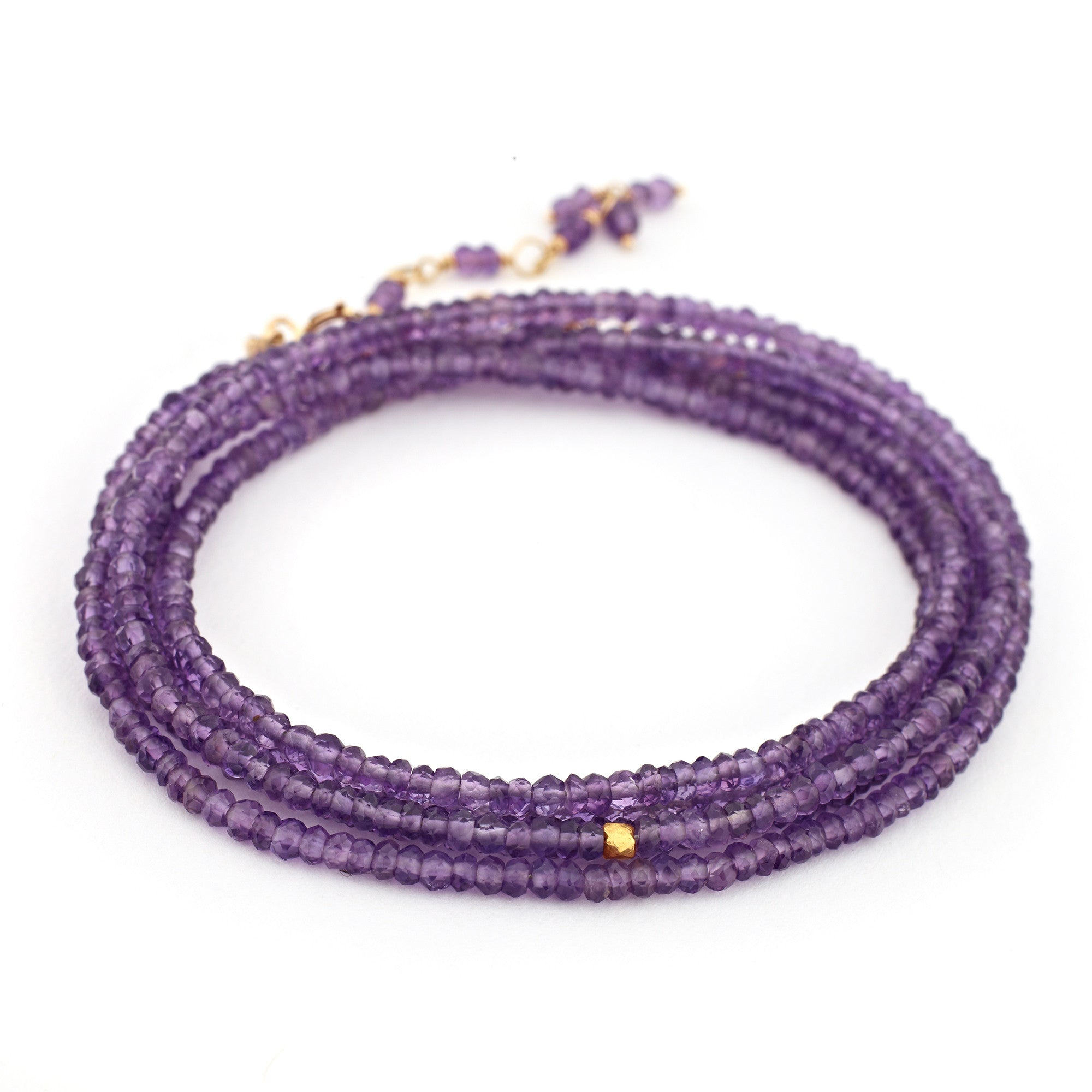 "Anne Sportun Amethyst Beaded Wrap Bracelet & Necklace 34"" B098G-AME"