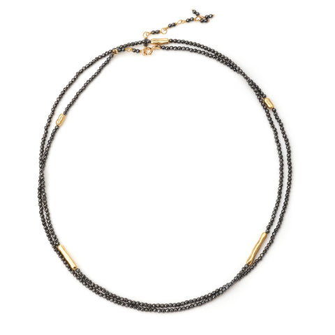 "Anne Sportun Five Gold Bar Accent Hematite Beaded Wrap Bracelet or Necklace 34"" B274G-HEM"