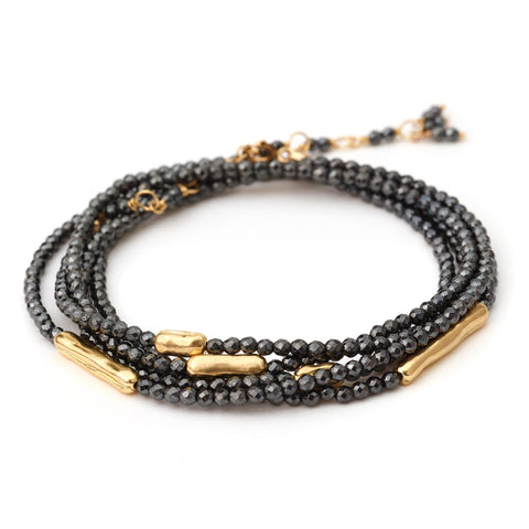 "Anne Sportun Five Gold Bar Accent Hematite Beaded Wrap Bracelet & Necklace 34"" B274G-HEM"