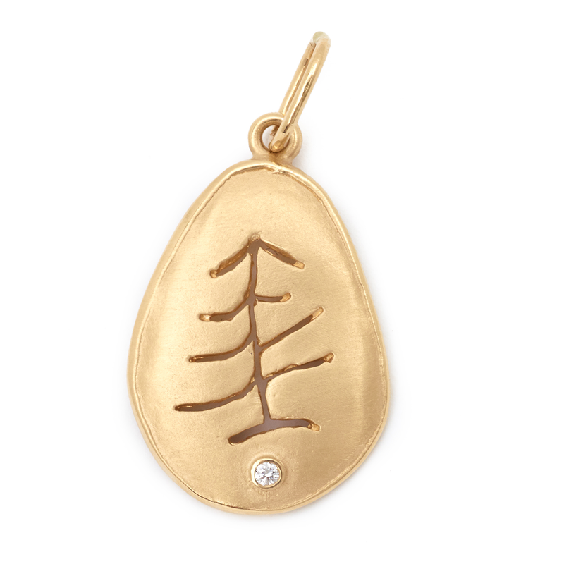 Anne Sportun Large Tree Charm 18K Yellow Gold Pendant