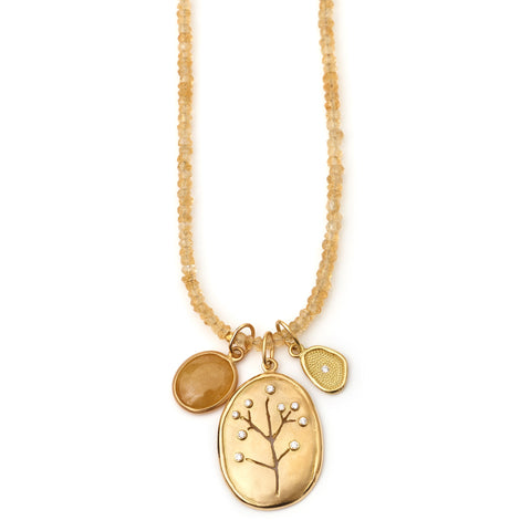 Anne Sportun Botanical Cherry Blossom Tree Charm 18K Yellow Gold Pendant