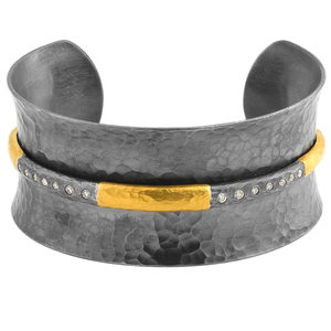 "Lika Behar ""Ancora"" Open Cuff Bracelet Oxidized Silver 24K Gold Diamonds"