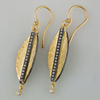 "Lika Behar ""Laurier"" Feather Dangle Earrings in 24K Gold & Oxidized Silver"