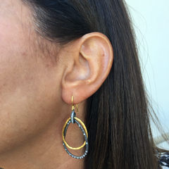 "Lika Behar ""Kelly"" Triple Teardrop Dangle Earrings Sterling & 24K Gold with Diamonds"