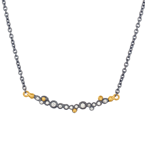 "Lika Behar ""Dylan"" Oxidized Silver & 24K Gold Bar Diamond Necklace"