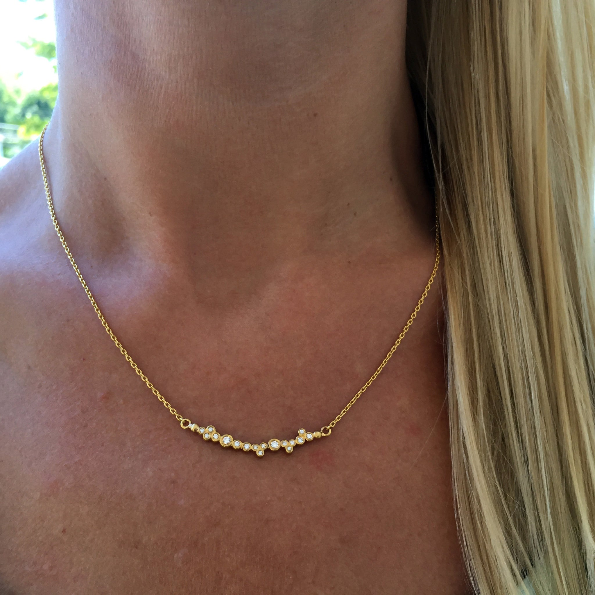"Lika Behar ""Dylan"" 24K Gold Bar Diamond Necklace with Toggle"