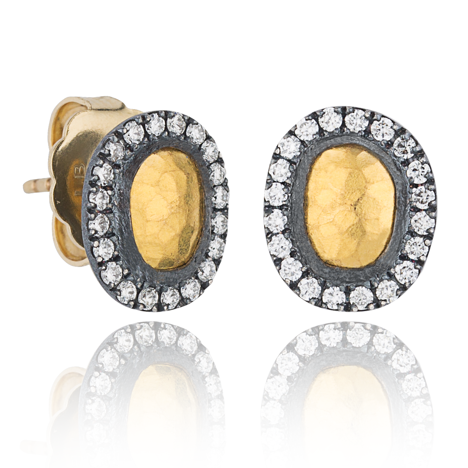 "Lika Behar ""Reflection"" Stud Earrings Sterling & 24K Gold with Diamonds RFL-E-301-GOXD-13"