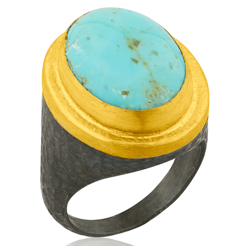 "Lika Behar ""Pompei"" Ring in 24K Gold & Oxidized Silver with Kingman Turquoise"