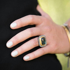 "Lika Behar ""Nightfall"" Labradorite Grey Diamond Ring 24K Gold & Oxidized Silver"