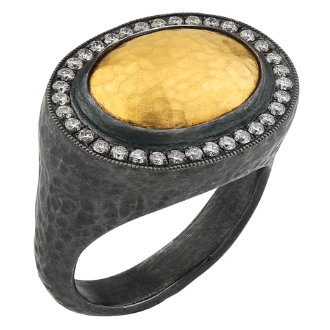 "Lika Behar ""Pompei"" Oval Ring in 24K Gold & Oxidized Silver with Diamonds"