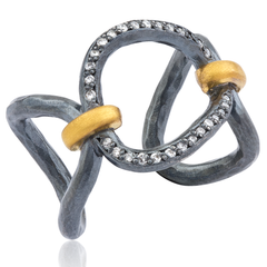 "Lika Behar ""Helena"" Open Ring in 24K Gold & Oxidized Silver with Diamonds"