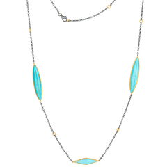 "Lika Behar ""Kara"" Necklace with Marquise Kingman Turquoise Silver 24K Gold 38"""