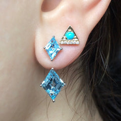Jane Taylor Cirque Kite London Blue Topaz Stud Earrings 14K PE50/LBT