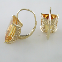 Jane Taylor Rosebud Square Step Cut Citrine Yellow Gold Drop Earrings