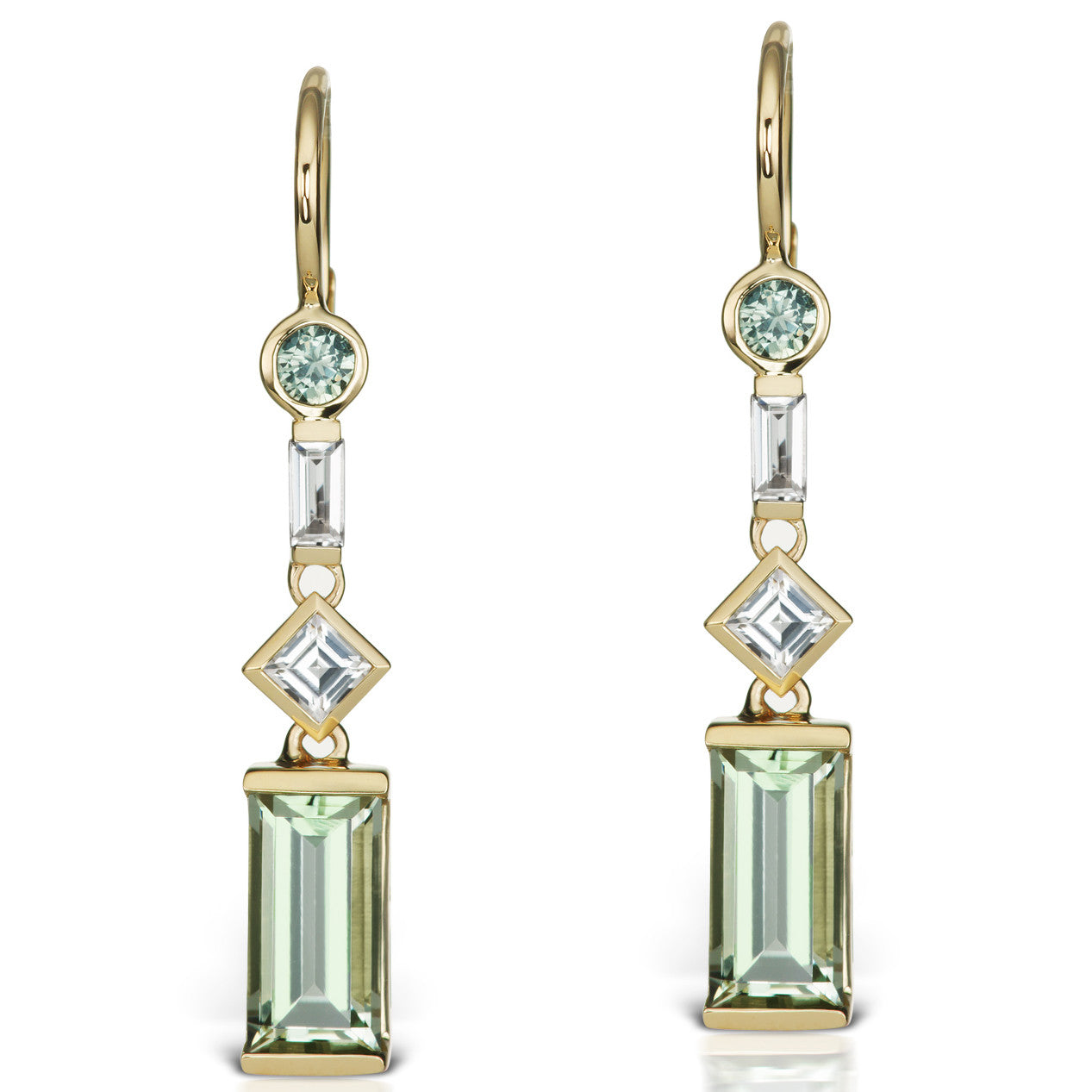 Jane Taylor Cirque Yellow Gold Earrings with Green Quartz, Sapphire & White Topaz