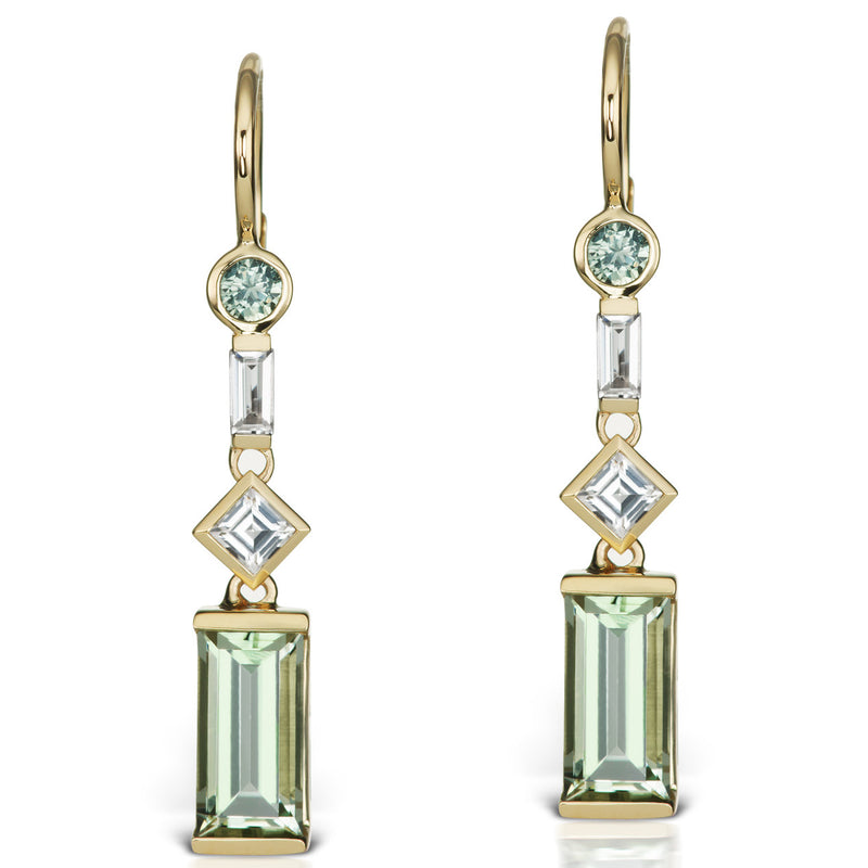 Jane Taylor Cirque Gold Earrings Green Quartz, Sapphire White Topaz