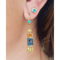 Jane Taylor Cirque Tassel Yellow Gold Earrings London Blue Topaz