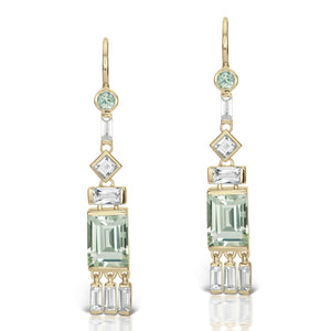 Jane Taylor Cirque Tassel Yellow Gold Earrings with Green Quartz & White Topaz