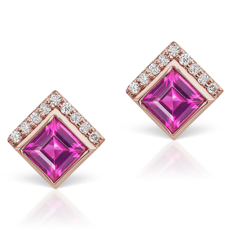 Jane Taylor Cirque Square 14K Rose Gold Stud Earrings Rhodolite Garnet & Diamonds