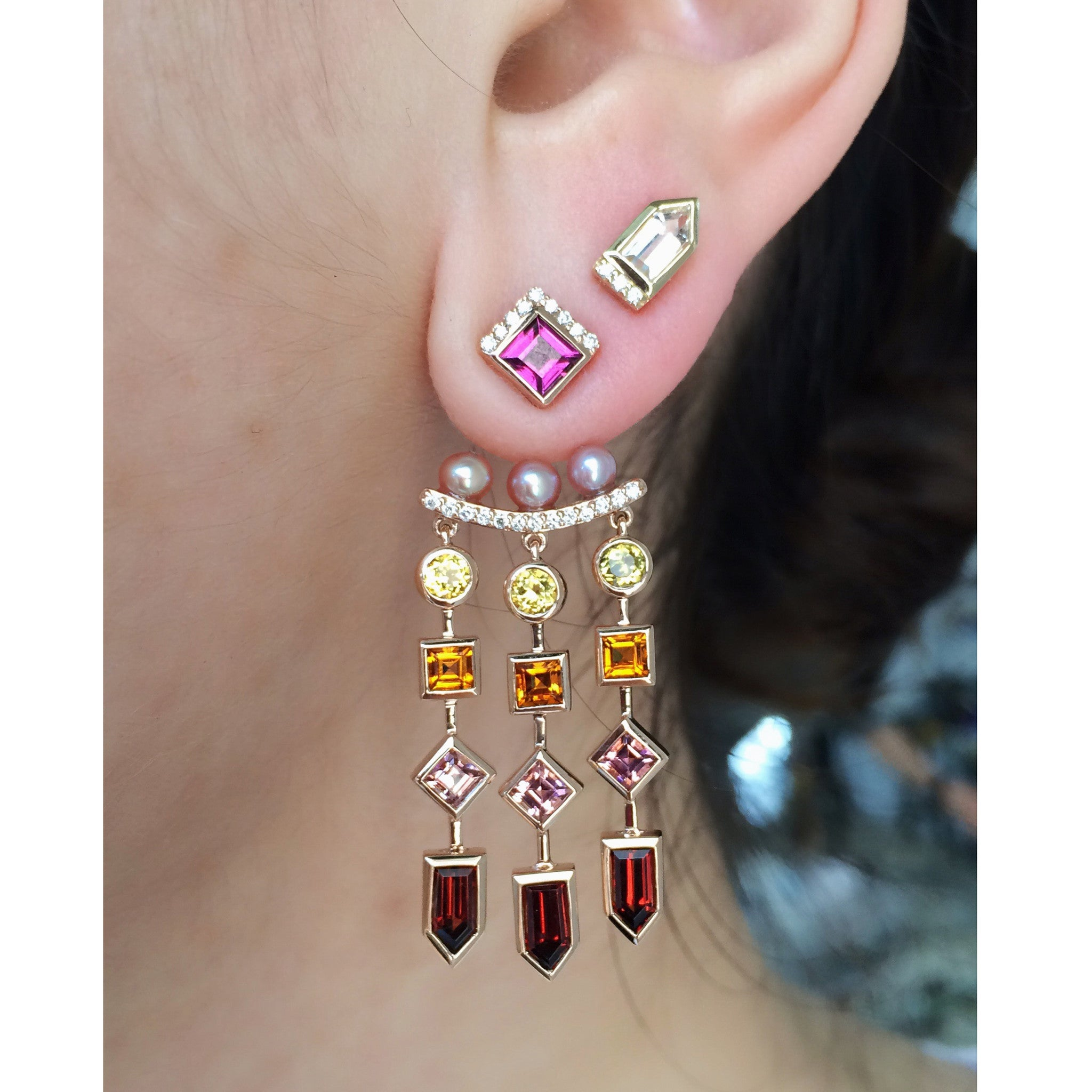 heart garnet stud white rhodolite gold p earrings