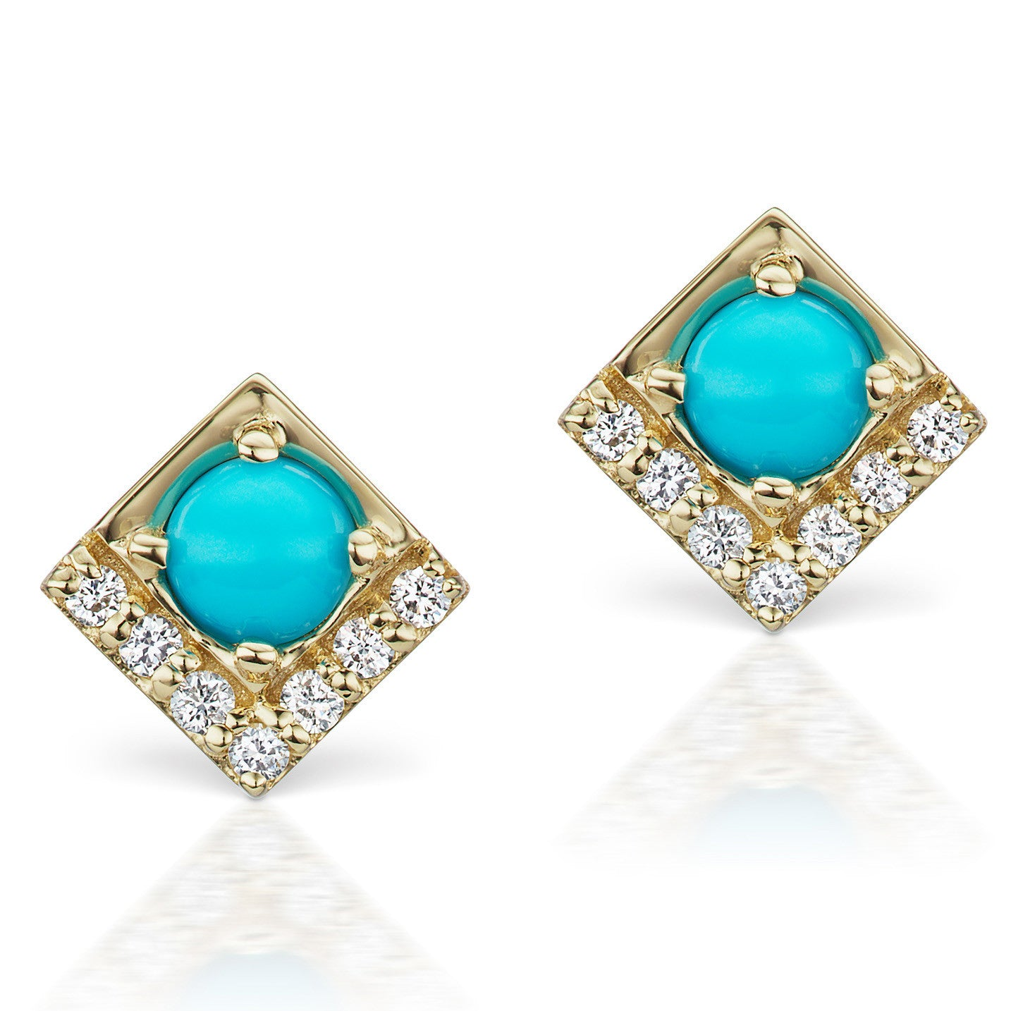 Jane Taylor Cirque Square 14K Yellow Gold Stud Earrings Turquoise & Diamonds