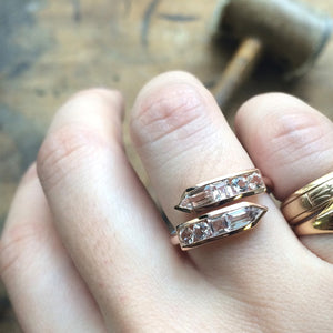 Jane Taylor Cirque Arrow Bypass Ring with White Topaz in Rose Gold nagi jewelers