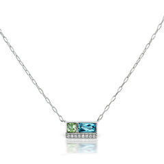 Jane Taylor Cirque Petite 2-Stone Necklace Blue Topaz & Green Tourmaline Yellow Gold