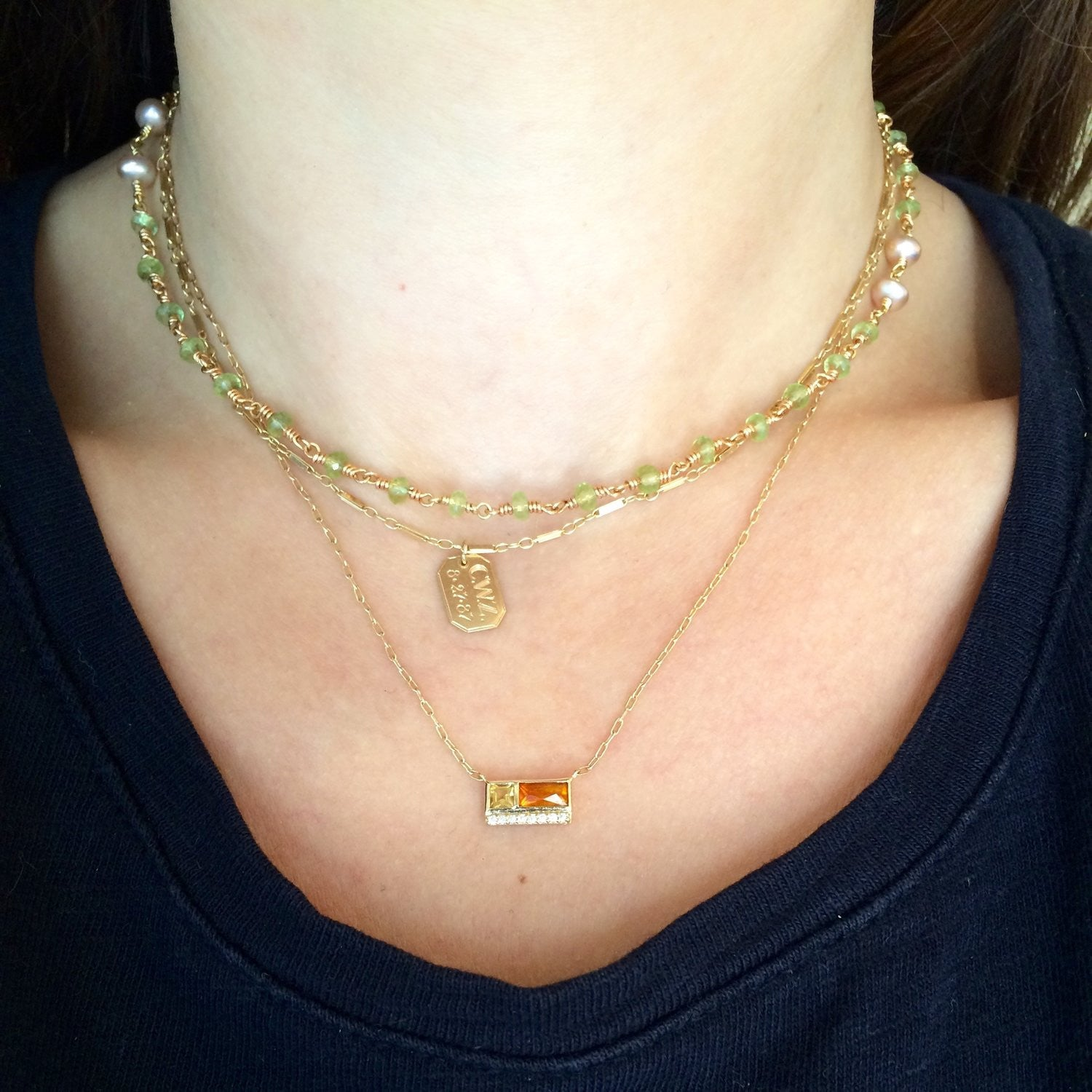 Jane Taylor Cirque Petite 2-Stone Necklace Citrine & Diamonds in 14K Yellow Gold