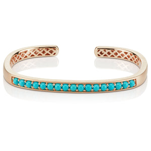 Jane Taylor Hinged Cirque Cuff Bracelet with Turquoise Cabochons 14K Rose Gold