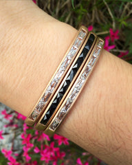 Jane Taylor Hinged Cirque Cuff Bracelet Purple Garnet Baguette 14K Rose Gold